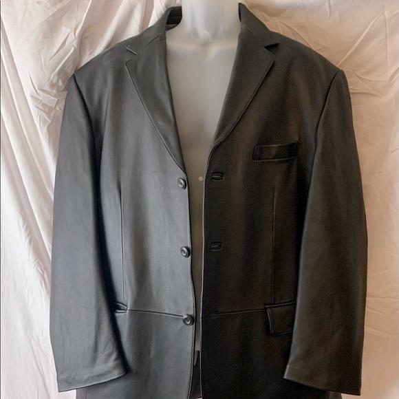 Men's Large Lambskin Black Leather Jacket
